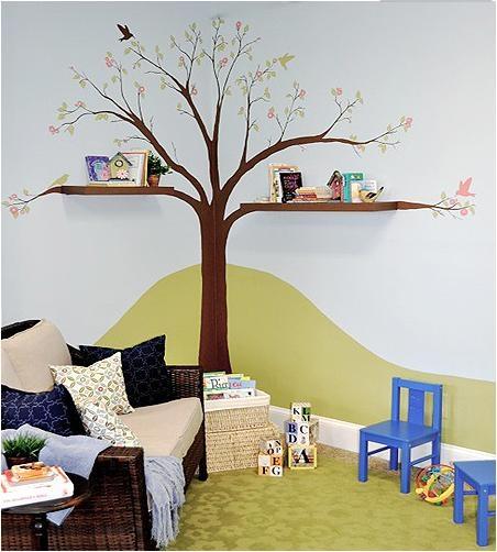 儿童房手绘卧室背景墙装修效果图