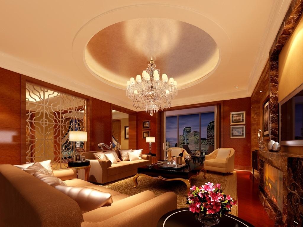 客厅圆形吊顶装修设计_装修效果图-x团装修网