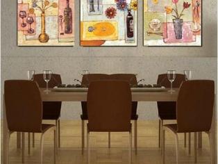 现代风格的西餐厅壁画装饰