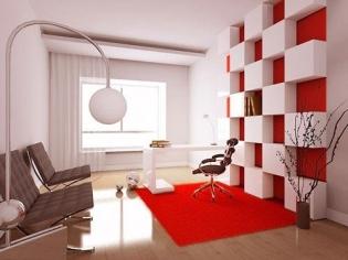 红白经典书房背景墙设计
