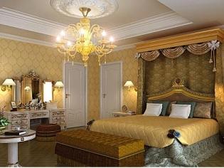 金黄色的卧室主色调