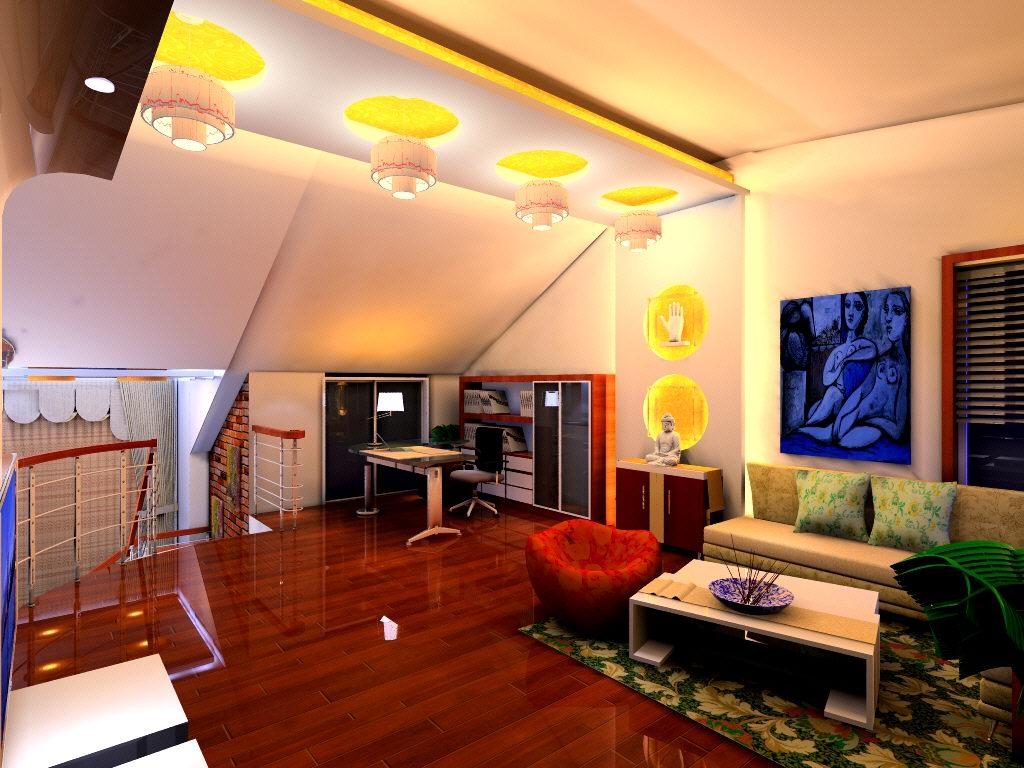loft现代风格阁楼沙发背景墙_阁楼
