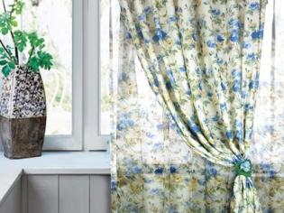 蓝色碎花窗帘效果图
