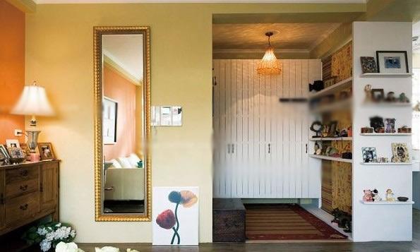 鞋柜 设计理念:造型独特的开门风景线,各式各样的陈列品,可爱不失时尚