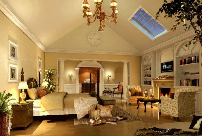 别墅欧式风格卧室_客厅吊顶