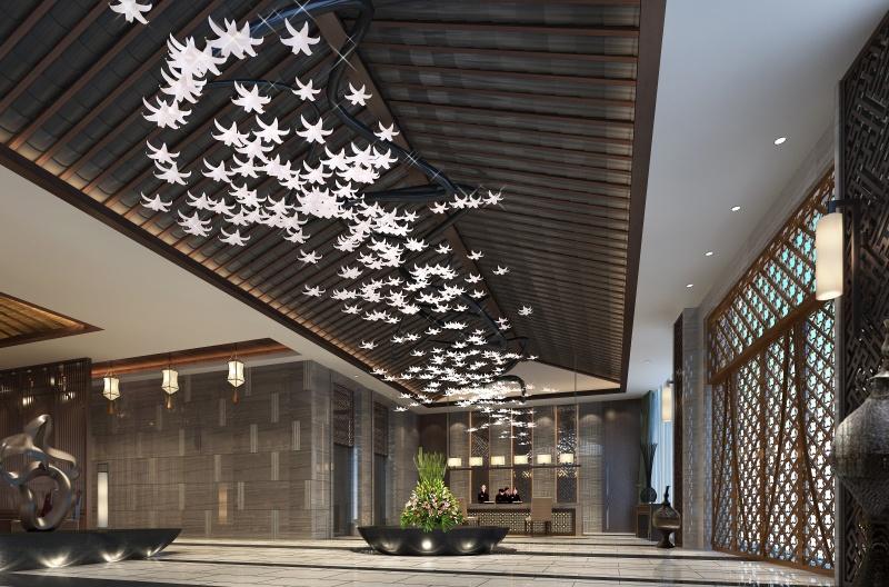 宾馆大厅设计效果图_装修效果图-x团装修网