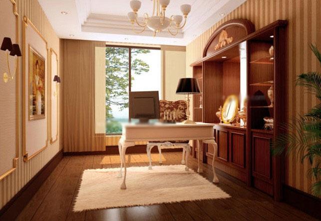 打造实用中式书房风格装修效果图  户型:复式楼 房间:书房 风格:中式图片