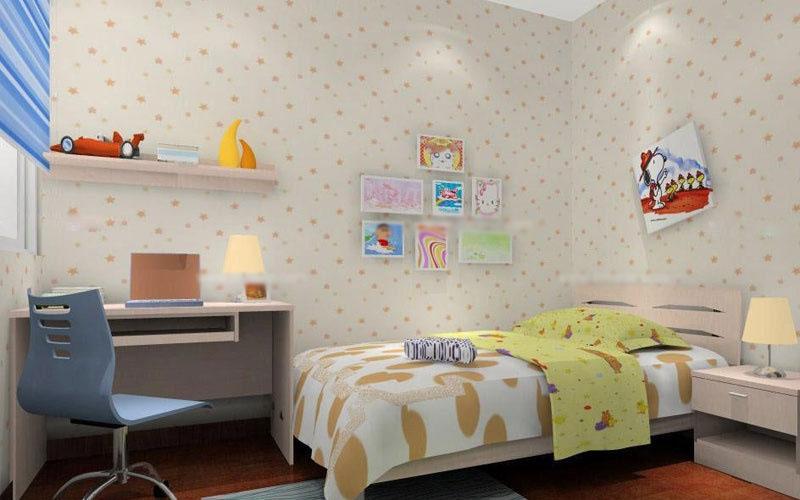 素雅的卧室背景墙,配上可爱的装饰,使整个空间清新自然而又可爱实用.