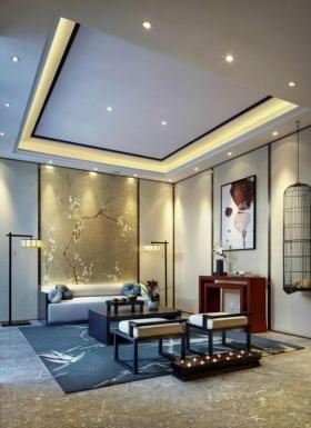 时尚简约的中式客厅大户型装修效果图