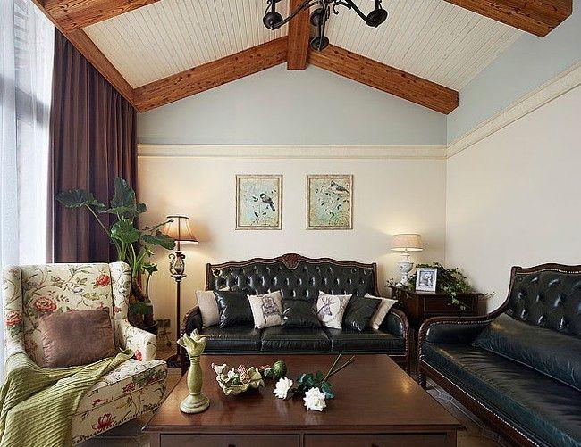 复式楼美式风格客厅_132平美式风情 简美混搭复式家图片
