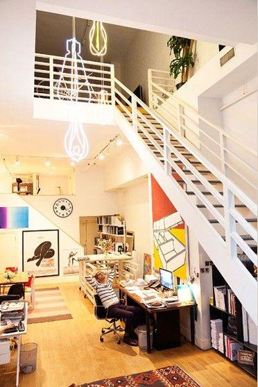 复式楼美式风格客厅_个性家居 纽约设计师的家庭工作室