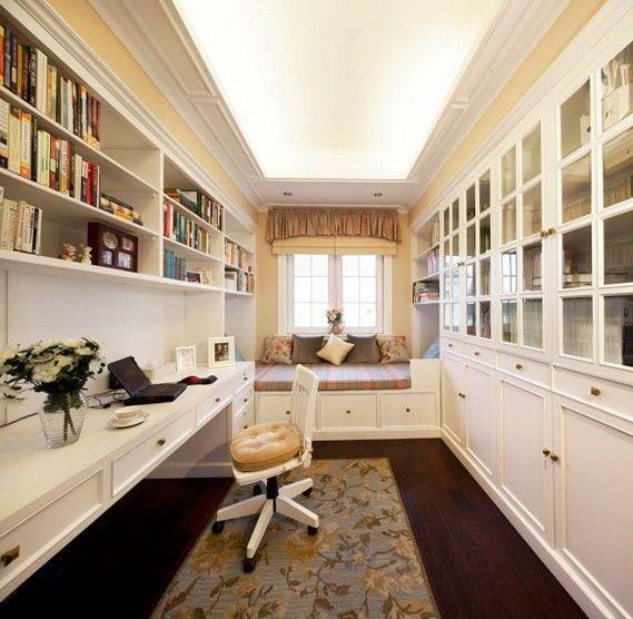 白色的美式书房
