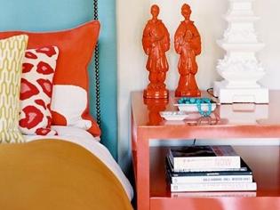 现代时尚魅力橙色床头柜