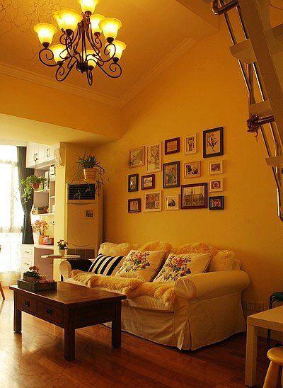 田园客厅背景照片墙