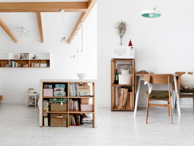 白色和原木的书房搭配