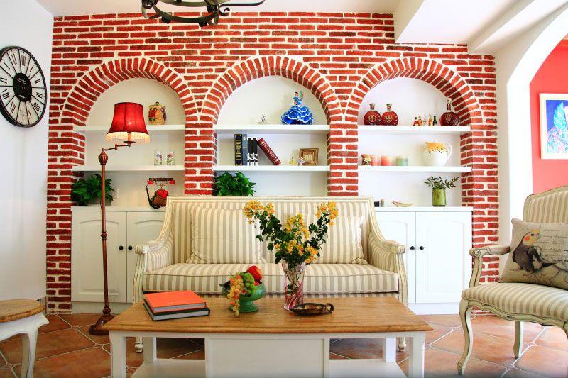 客厅红砖背景墙 装修效果图 X团装修网高清图片