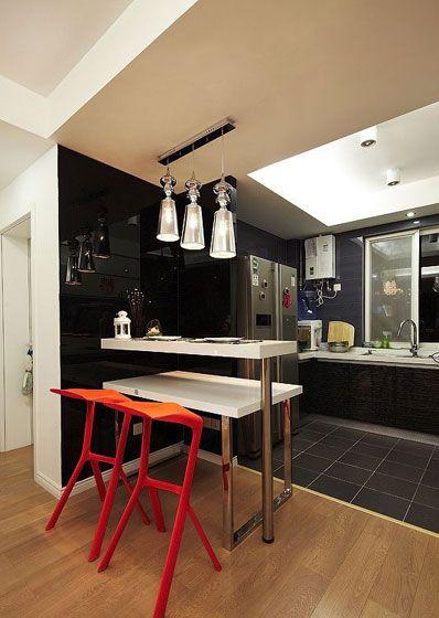 小户型:49平,玄关有吧台厨房,装修层次分明显得家里大