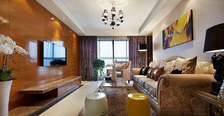 两居室混搭风格客厅影视墙_实木客厅背景墙