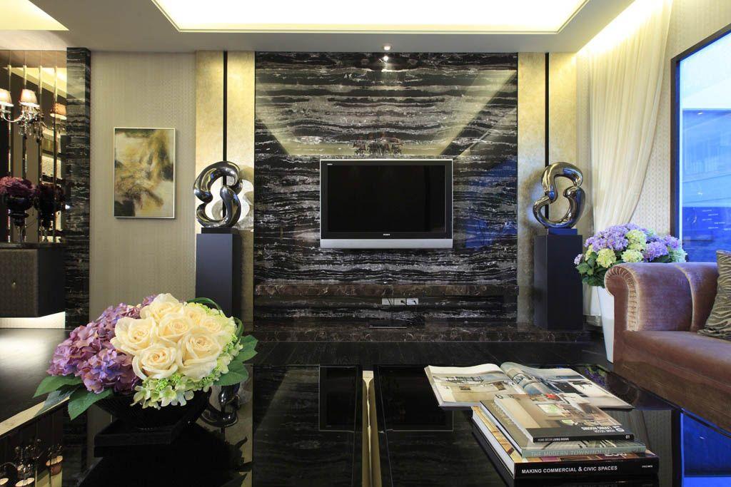 客厅电视背景墙_装修效果图-x团装修网