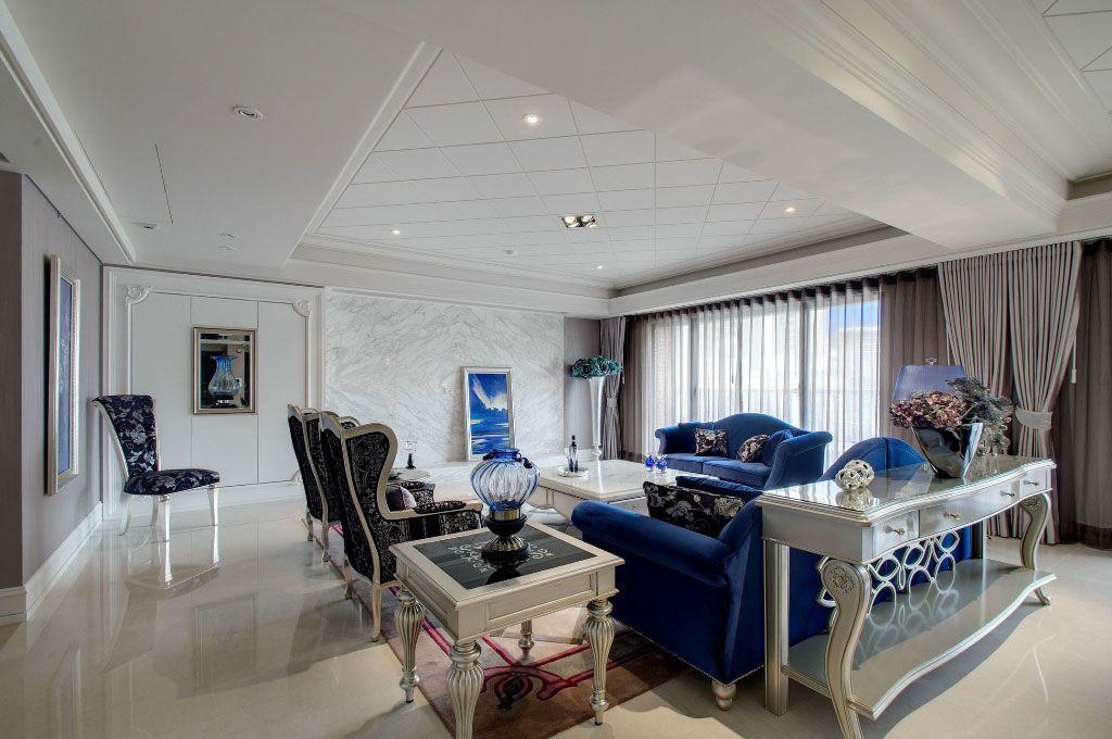 蓝色欧式古典沙发
