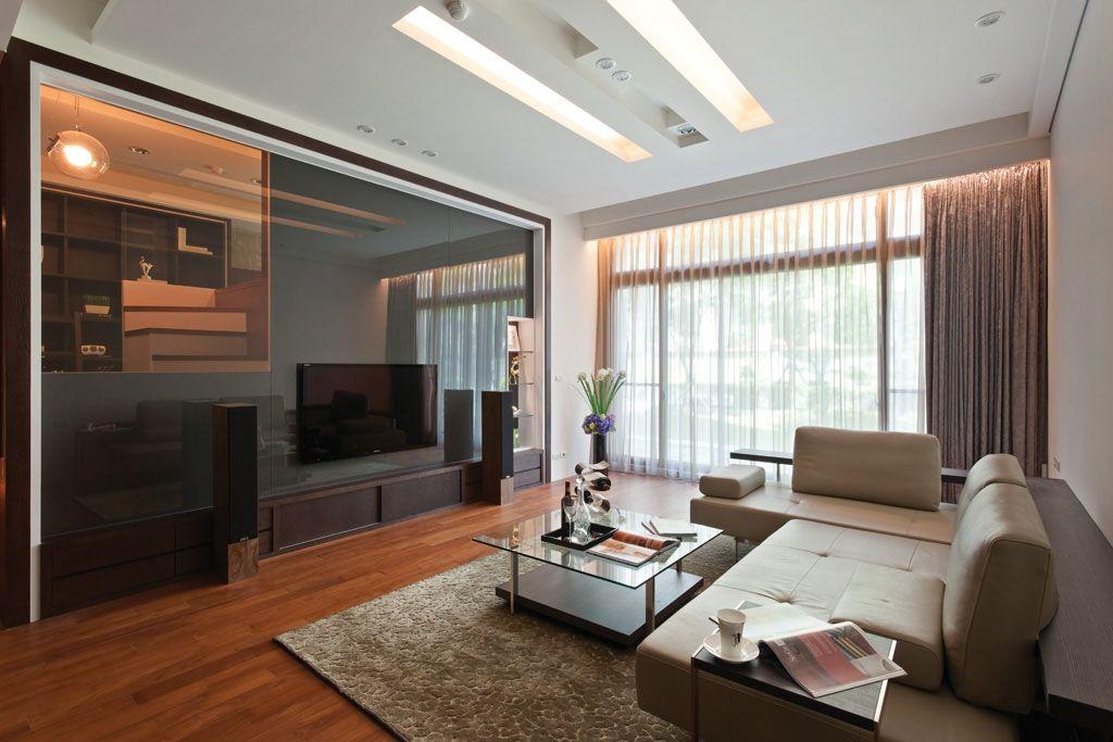 茶色玻璃电视墙_装修效果图-x团装修网