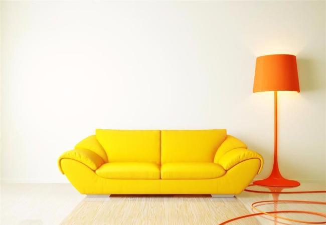 单身公寓橙色落地灯