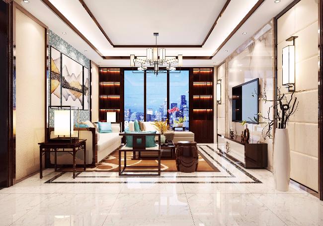 都市新中式风格三居室装修效果图