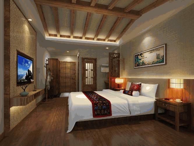 新中式婚房卧室装修图